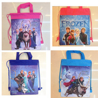 Wholesale DHL Freeshipping Frozen Bags w Drawstring Anna Elsa School Bags Children Backpacks Shopping Handbags Xmas Present for Kids FROZ33