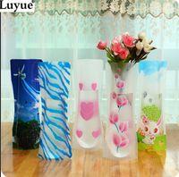 Wholesale Big sale pieces MIX styles small folding vase and colors home decoration plastic folding flower vase