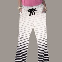 Wholesale Fashion Women s Stripe Casual Stretch Pants Wide Leg Long Loose Palazzo Trousers S XL PTSP