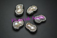 Wholesale High Quality Paved Crystal Beads On Side About x30MM Long Freeform Baroque Pearl Fit Various Bracelet Necklace Jewelry Handmade pc