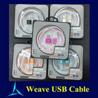Wholesale Weave Metal Micro USB Cable Charging Data Sync Cords Pin Cable For Samsung Galaxy S6 Note HTC I phone With Pakcage