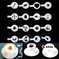 Wholesale 16Pcs Creative Nice Coffee Barista Stencils Template Strew Pad Duster Spray Art PY A303