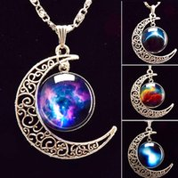 Wholesale Hot Sale Vintage Silver Glasses Starry Star sky Moon Pendant Necklace Long Rhinestone Necklace