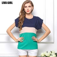 Wholesale o neck color block shirt tops for women striped chiffon blouse short sleeve fashion atacado roupas femininas