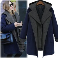 Wholesale Europe and America fashion british style plus size woolen outerwear double breasted medium long woolen outerwear with a hood wool coat