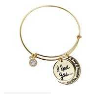 Wholesale New Style Gold plated Valentine s day gifts Alex and ANI hit I love you to the moon and back pendant bracelet High Quality