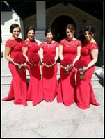 Wholesale 2015 Red Mermaid Lace Bridesmaid Dresses Sheer Crew Neck Short Sleeve Sweep Train Ruched Hollow Back Custom Made Wedding Party Dresses