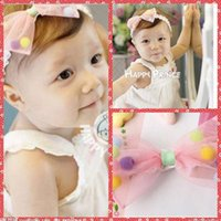 Headbands Lace Floral Wholesale Lovely Pink Bowknot Accessories Infant Child Lace Princess Babies Girl Hair Band Headband Baby's Head Band Kids Hairwear Cheap
