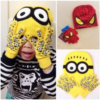 cotton knitted gloves - Minions Spiderman caps and gloves new cartoon Despicable Me Minion winter knitted kids girls boys hats gloves children gift HX