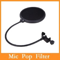 Wholesale Studio Microphone Mic Pop Filter Wind Screen Mask Shied Dual Layer Gooseneck Flexible for Recording Speaking Singing Via DHL