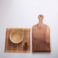 antique wood cutting board - Antique Hand Engraved Wood Collects Wooden Chopping Block w Handle Natural Texture Cutting Board Tea Nut Serving Tray CM