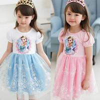 Cheap In stock frozen clothing lace kids dresses elsa tutu dresses pink blue elsa costume girls party Frozen dress girls clothes tcq 015