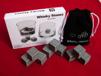 Wholesale Free DHL Fedex sets Whisky Stones set with Delicate Box Velvet Bag Whiskey Rock Stone Cube Stone
