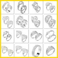 Wholesale Wedding Lovers Rings Gemstone Plated Silver Rings For Women Gift Mix Styles Choose YBLH