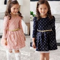 Wholesale New Stylish Child Girls Clothes Buttons Princess Cute Tutu Dress With Belt Ages Y SV010782