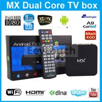 Wholesale XBMC Original R28 GOTHAM G BOX Midnight MX2 CS838 Dual Core Android Smart MX TV BOX Media Player Amlogic Miracast Airplay