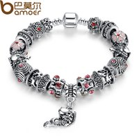 amethyst bracelet - Pandora Drop Shipping Fish Charm Chamilia Bracelet Tibetan Silver Murano Glass For Women Fashion European Style Jewelry FD82603
