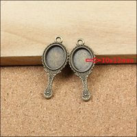 antique mirror tray - inner x12mm Alloy Pendant Trays Antique Bronze Cabochon Setting Blank Tray mirror Pendant Blanks