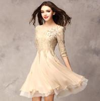 Wholesale Clearance Sale Pink Color Fashion Slim Lace Chiffon Dress Elegant Dress Women Sleeve Chiffon Dress Casual Dress
