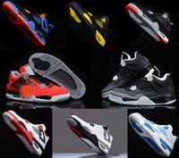 buy toro bravo basketball shoes - retro 4 toro bravo fear pack white cement men women basketball shoes sneakers 2016 bred high cut sports shoes US sizes 5.5-13