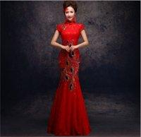 Wholesale 2014 New cheongsam Wedding Dress High Collar Short Sleeve Wedding Dress Formal Dress Cheongsam Dress Mermaid Zipper Floor Length With Sequin