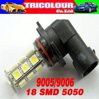 Cheap 100 X 18 smd 5050 led 9005 9006 Car DRL Daytime Driving Light Fog Head light LED Lamp White Blue 12V #LI02-1