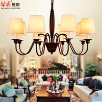 antique hanging light - Iron art chandeliers loft industrial lighting pendant lamp americal style antique black hanging lights living room lights fabric lampshade