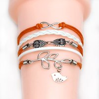 owl bracelet - cross Infinity Anchor owl Branch love Bracelet bird believe faith courage Braided Leather Charm Bracelets