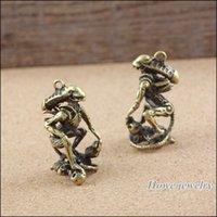 ancient alien pendant - 10 Vintage Charms Alien Skull Pendant Ancient bronze Fit Bracelets Necklace DIY Metal Jewelry Making A001