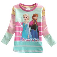 Wholesale Frozen girls T shirts Girls autumn FROZEN cartoon girls striped long sleeved T shirt