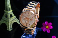 analog wedding bands - Geneva Luxury Brand Watches Fashion Men Women wedding gift Rose Gold Bling Crystal Three eyed Stainless Steel Band Quartz Watch