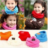 Wholesale 2014New Fallr and Winter Warm Scarf Children Baby Boy Girls Knitted O Scarf kids candy warm neck bib scarf