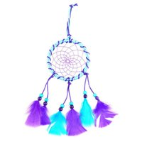 Wholesale New Handmade Car Ornaments accessories Pendant Home Decoration Dream Catcher Wind Chimes Bell Circular Net With feather