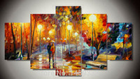 afremov prints - 5 Panels Leonid Afremov Painting Wall Art cuadros decoracion Wall Picture For Living Room Canvas Print Abstract Painting F
