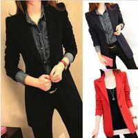 bamboo slimming - 2016 New Slim Women Blazer Suit Jacket Casual Medium Long Woman Coat Spring Autumn Plus Size Blazers v213