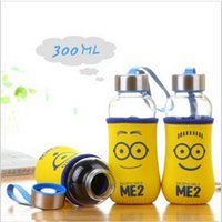 Wholesale Children Despicable Me water bottles with Minions cartoon cloth cover Anti scald transparent Portable glass kids Water Bottle LD079