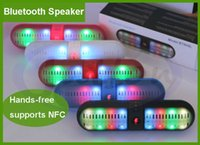 wireless speakers - 2015new Bluetooth Speaker BT808L Wireless colorful LED light Hands free NFC speaker TF card MIC mm audio in DHL free