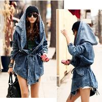 Women denim jacket - Fashion Women Lady Cool Denim Trench Coat Hoodie Hooded Outerwear Jean Jacket