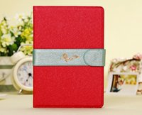 Wholesale Luxury Silk Pattern Flip Leather Wallet Case for iPad mini inch Tablet with Magnetic Ribbon Multi color