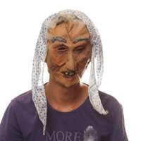 bad witch - New Popular Old Woman Halloween Costume Party Mask Brazen Gauze Kerchief Bad Teeth Witch Latex Full Face Mask