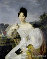 affordable canvas paintings - Oil Paintings Reproductions of Ferdinand Waldmüller A lady in a White Dress and Shawl Before a Viennese Landscape Affordable Oil Paintings
