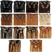 Wholesale Brazilian Clip In Hair Piano Color Hair Extensions inch inch A Set g set