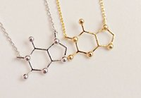 alloy chemistry - 5pcs Unique gold silver serotonin caffeinee molecule charm necklace chemistry element pendant clavicle necklace jewelry