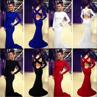 Wholesale Sexy Women Cocktail Dress Christmas Party Formal Evening Ball Prom Long Sleeve Dresses Backless New Fashion Wedding Gown