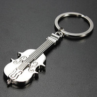 Wholesale New Arrival Creative Violin Charm Keyring Keychain Silver Color Key Ring Chain Keyfob Gift RTT