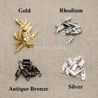 Cheap 200pc lot 7*3mm Rhodium Plated End Caps Leather Cord Crimp Caps For Necklace Chain DIY Connector Jewelry Findings Making Y732