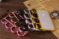 brass knuckles rings - Fashion Fist Finger Ring Case for iPhone Inch Hard Aluminum Metal Back Cover Brass Knuckle Gold Silver Metallic Color