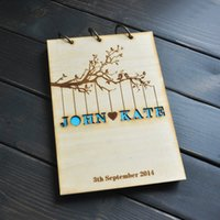 anniversary guest books - Personalized Wedding guest book Rustic wedding guestbook album Custom wood engagement anniversary gift wedding book signature book