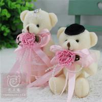 beautiful teddy bears - Plush Teddy Bear Pendant cm Small Charms Stuffed Bears pairs Wedding Bear Doll with Beautiful Pink Flower Dress