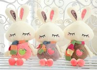 Wholesale 60cm Hot Love Letters Apple Pattern Embroidered Cony Stuffed Animals With Colorful Scarf Candy Color Rabbits Plush Toys Kids Gifts E1881